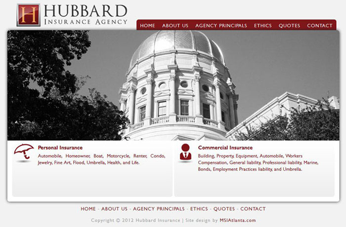 The Hubbard Insurance Agency website preview.