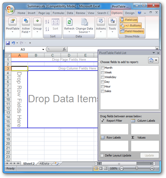 how to create a pivot table in hrm